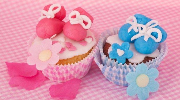 Pink and blue cupcake with baby shoes and hearts
